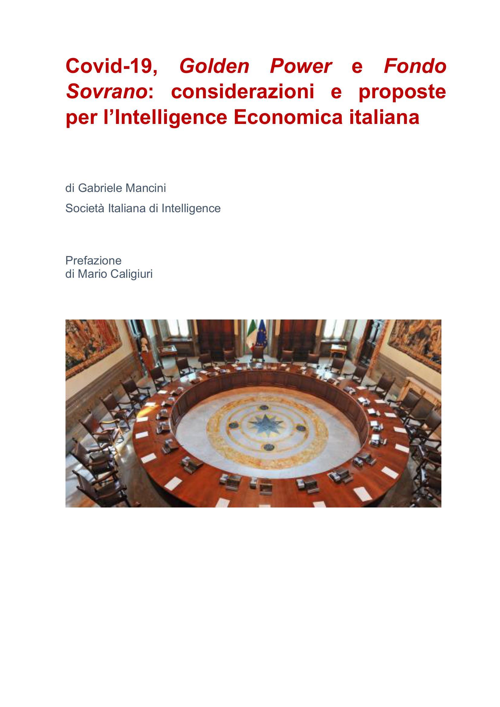 Covid-19, Golden Power e Fondo Sovrano: considerazioni e proposte per un'Intelligence Economica italiana