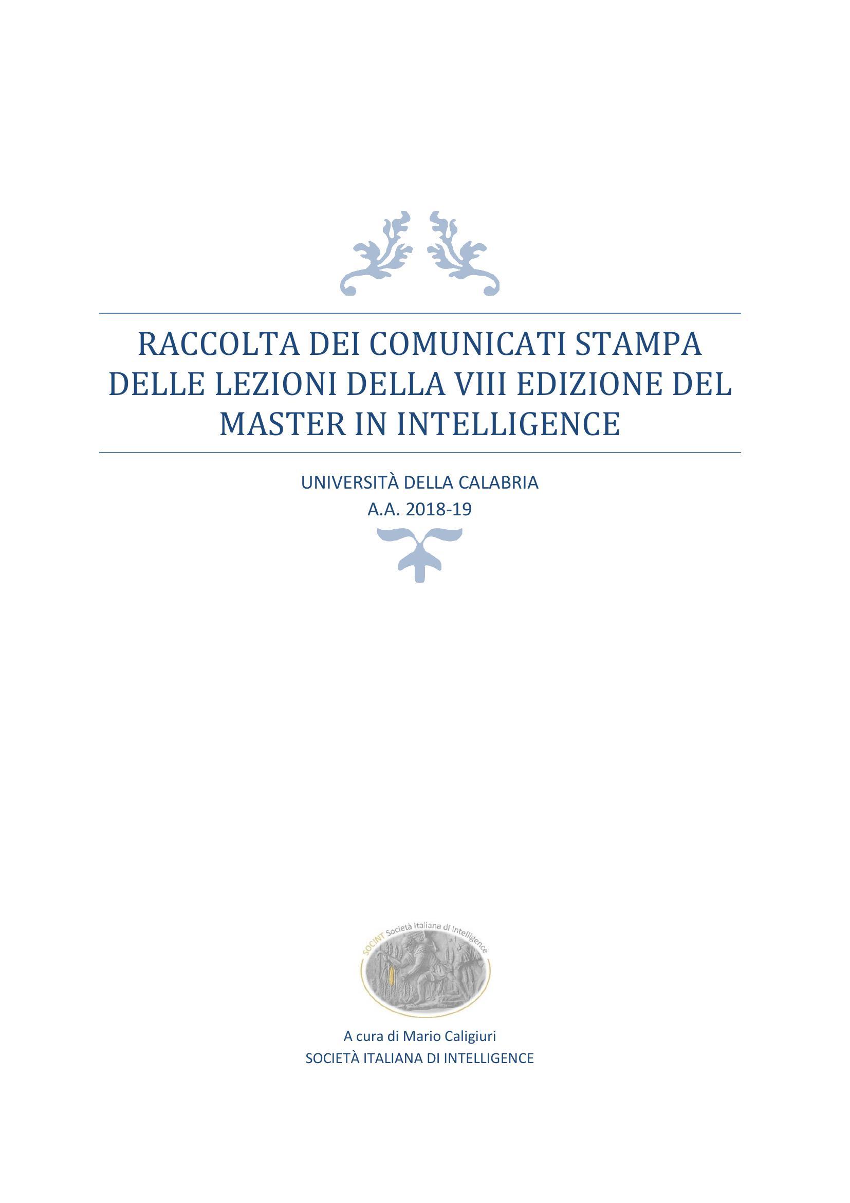 Master in Intelligence UNICAL, pubblicata raccolta dei comunicati stampa