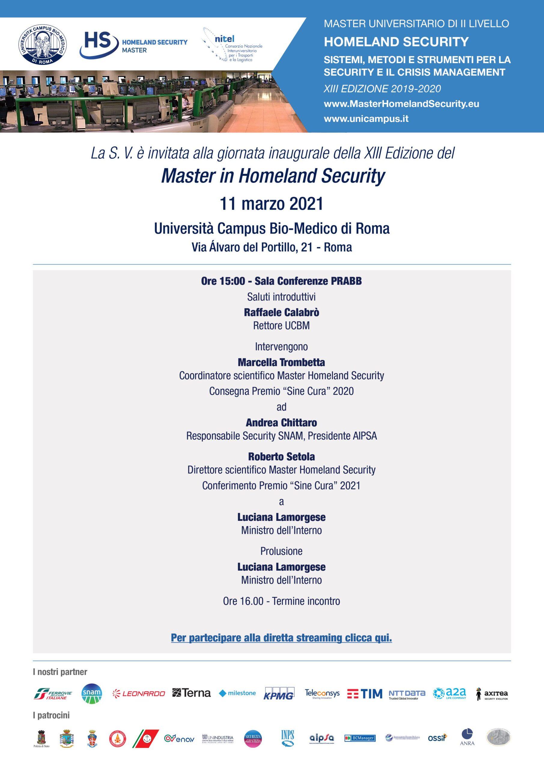 Giornata inaugurale Master in Homeland Security XIII, Università Campus Bio-Medico di Roma